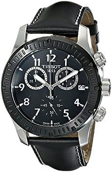 Tissot V8 Chronograph Black Dial Black Leather Men's Watch