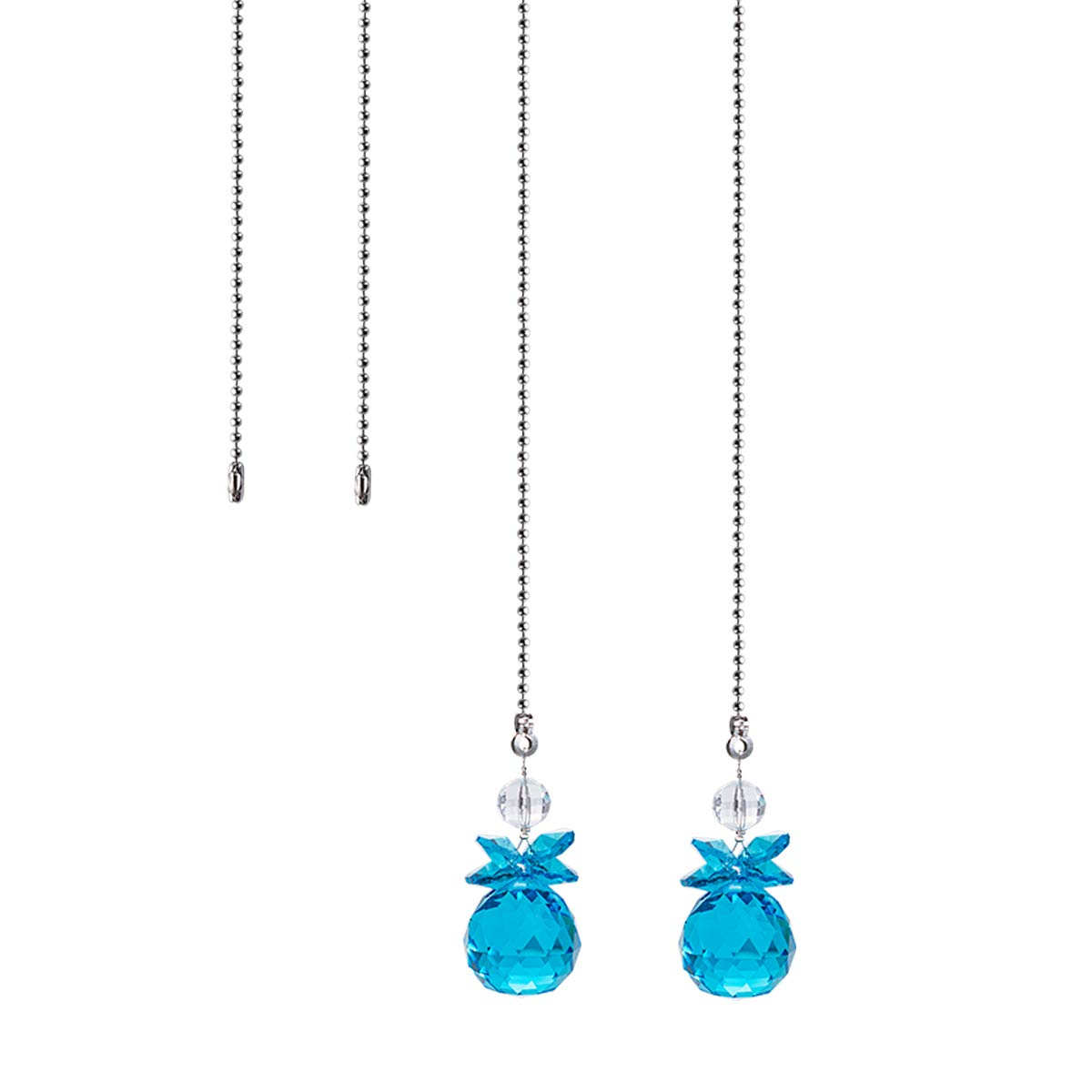 Crystal Ceiling Fan Pull Chains Hanging Pendants Prism Pack Of 2 Light Blue