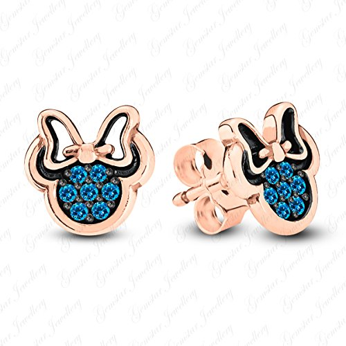 Tone Two 18k Earrings (Gemstar Jewellery 18K Two Tone Gold Finish Round Cut Blue Topaz Minnie Mouse Disney Stud Earrings)