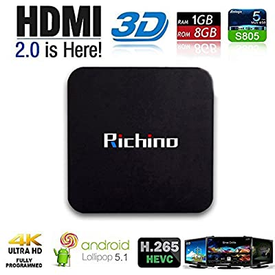 NEW Richino TV BOX Q Pro Android 4.4.2 Amlogic S805 Quad Core 1GB/8GB Wifi, 1080P, 4K with EMMC/H.265/Root from R-Q-Pro