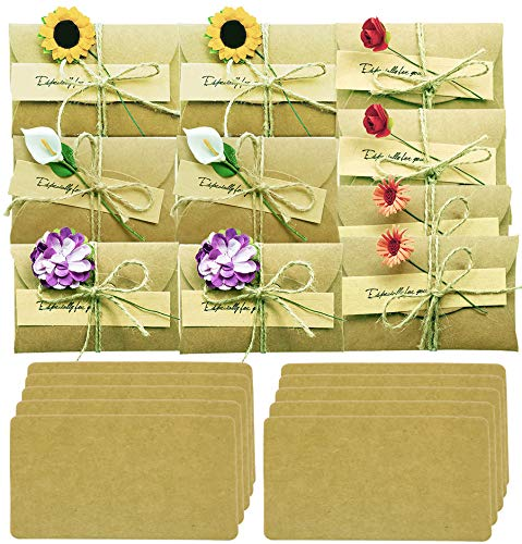 Handmade Flower Greeting Card Gift Card Holder with envelope Wish Card Message Slip Thank You Card DIY Vintage Kraft 2.79