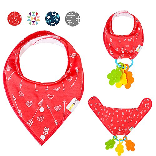 CLEARANCE SALE! 4-Pack Bandana Bibs for Babies (Drool Bibs) with Teether Holder, Unisex Gift Set for Drooling and Teething, 100% Organic Cotton, Soft and Absorbent, Hypoallergenic - for Boys and Girls