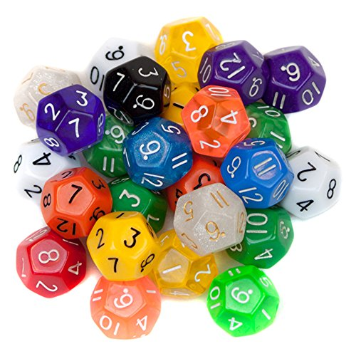 12 Dice - 25 Pack of Random D12 Polyhedral Dice in Multiple Colors by Wiz Dice
