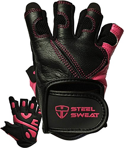 Steel Sweat Workout Gloves - Best for Weightlifting Gym Fitness Training and Crossfit – Made for Men and Women who Love Lifting Weights and Exercise - Leather SCARR Black/Pink Medium
