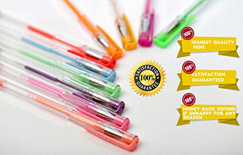 Glitter Gel Pens set - 15 Unique colors pens with Case from Uchtam -Best suited for Adult coloring book and Gifts. Non-Toxic, Long Lasting Ink, Acid Free, Smooth Ink Flow Photo #5