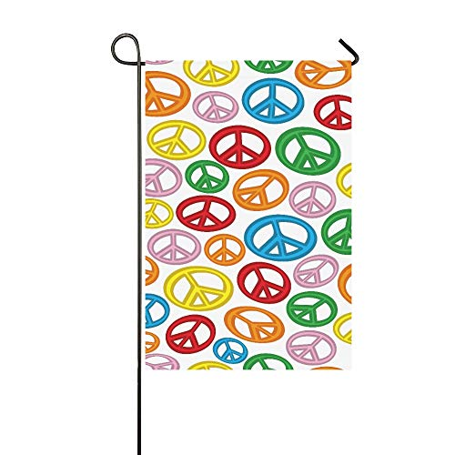 Jnseff Home Decorative Outdoor Double Sided A Seamless Pattern of Peace Signs On A Plain White Garden Flag,House Yard Flag,Garden Yard Decorations,Seasonal Welcome Outdoor Flag 12 X 18 Inch Gift - Mailbox White Plain Door