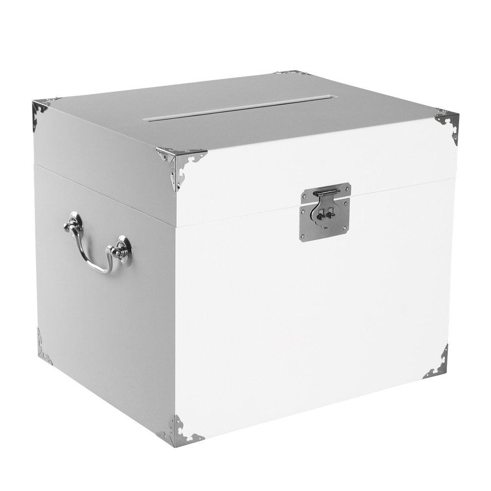 Ivy Lane Design Wedding Card Box, Hole On Top, White