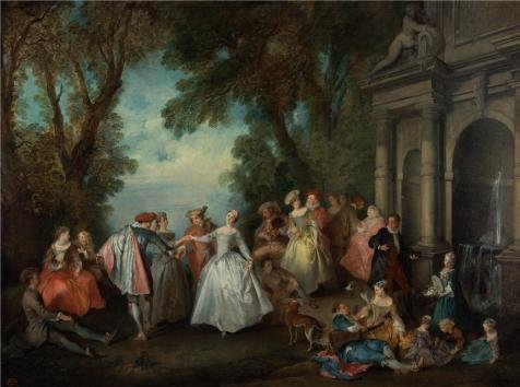 Hello Dolly Costumes For Rent (Oil Painting 'Dance Before A Fountain, 1724 By Nicolas Lancret', 8 x 11 inch / 20 x 27 cm , on High Definition HD canvas prints is for Gifts And Gym, Living Room And Study Room Decoration)