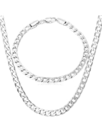"""U7 Jewelry """"18K"""" Stamp Gold Plated Bracelet Cuban Curb Chain Necklace For Men, 18-26"""""""