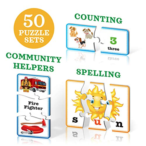 (3-in-1 Educational Puzzles for Kids Toys Gift Set. 50 Pieces Puzzle for Boys/Girls Preschool Children, Toddler Ages, 3, 4, 5 Up-2 8-Year-Old. Learning, Counting, Spelling, Numbers, Community Helpers)