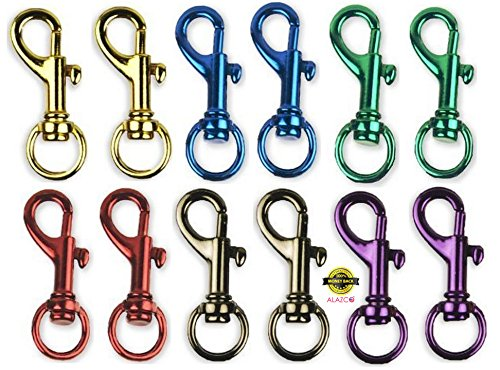 Hook Spring Rope (12pc ALAZCO Bright Colors Premium Quality Aluminum Spring Snap Hook Set 1-1/2