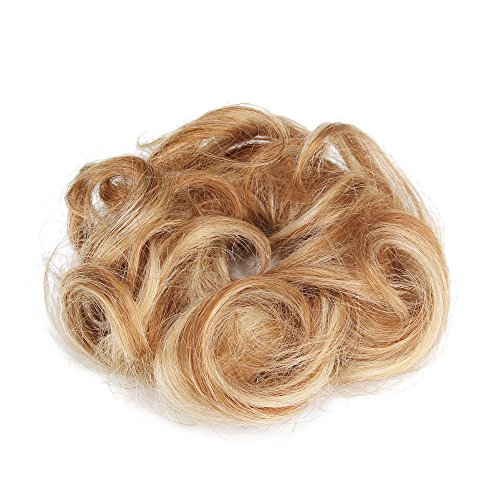 Rosette 100% Human Hair Scrunchie Extensions Curly Messy Donut Hair Chignons(Blonde)