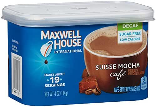 Maxwell House International Coffee Sugar Free Suisse Mocha Cafe, Decaf, 4 Count