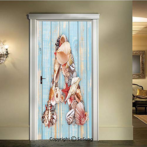 (baihemiya 3D Door Wallpaper Stickers,Letter A with Seashells on Pale Wooden Board Invertebrates Animal Decorative,W30.3xL78.7inch,Suitable for Any Dry,Flat surfacePale Blue Ivory Dark Coral )