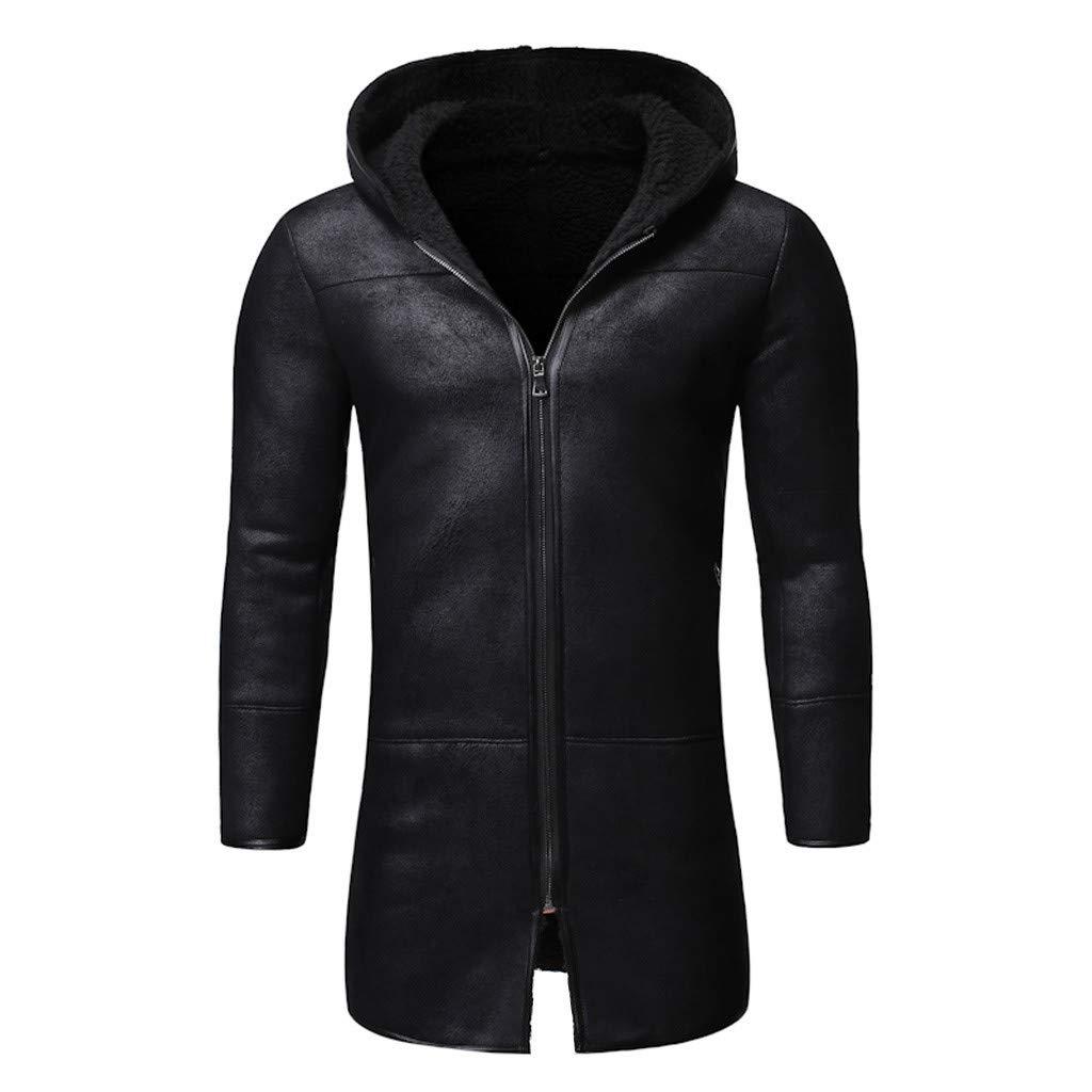 Botrong Men Autumn Winter Highneck Warm Liner Lapel Leather Zipper Outwear Top Coat (Black,L) by Botrong