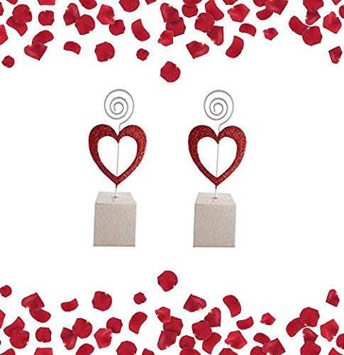 Pack of 2 Red Glitter Heart Place Card Holders - Valentines Day Dinner and Party - Valentines Day Tableware
