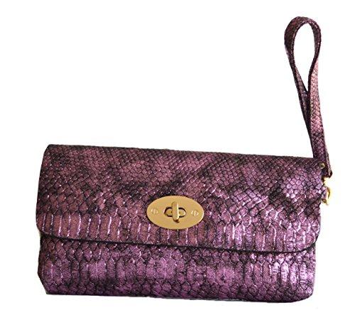 women snakeskin metallic cross body clutch evening purse fashion (Fuchsia)