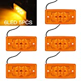 SaiDeng 5Pcs Amber Cab Roof Running Top Clearance Marker Lights 6LED Rectangle Lamp Warning Light for Freightliner Volvo