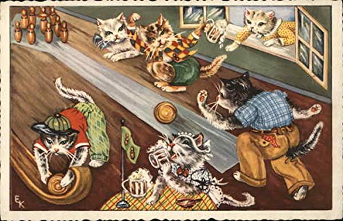 Cats Bowling Dressed Animals Original Vintage Postcard from CardCow Vintage Postcards