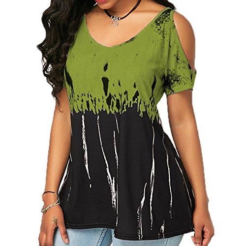 Top Moda Army Zecca a Corte T Sexy Stampa a Scollo con Green Maniche V Shirt di Nuova Maniche Senza O6Wn7