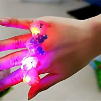 My Party Suppliers Blinking LED Cute Finger Rings with Cartoon Characters (Multicolour) -Set of 6 PIeces
