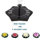 Fuente Solar Birdbath, 1.4W Jardín Solar Water Pump Kit Con 4 Flower Simulation Lotus (Negro)