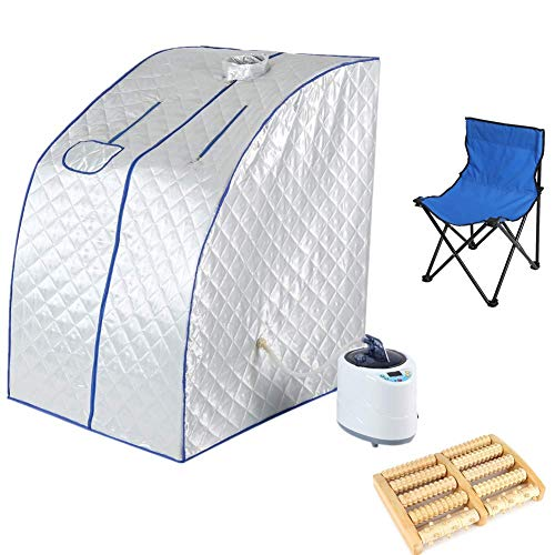 Cocoarm 2L Steam Sauna Spa Portable Indoor Personal Full Body Slimming Weight Loss Detox Therapy Home Tent Pot Machine with Heating Foot Pad, Chair and Remote Control