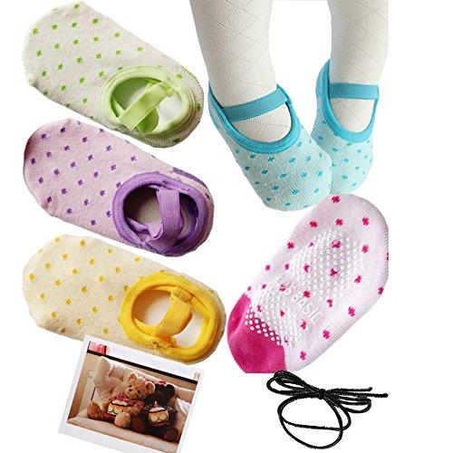 Yaobaby 5 Pairs 8-24 Months Baby Girl Toddler Anti Slip Skid foot Socks + Gift Card + Hair rope, Stripes No-Show Crew Boat Socks Footsocks sneakers, 12-14cm