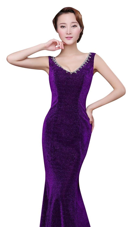 Drasawee de la mujer V cuello delgado Mermiad de vestido de fiesta ...