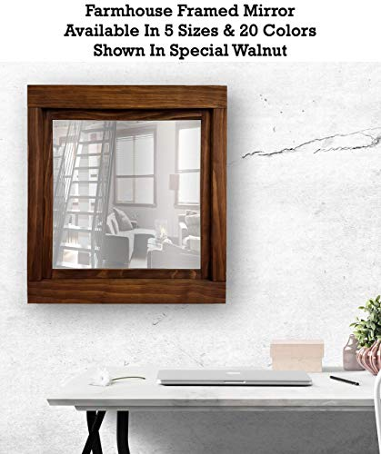 Farmhouse Large Framed Mirror Available in 5 Sizes and 20 Stain Colors: -