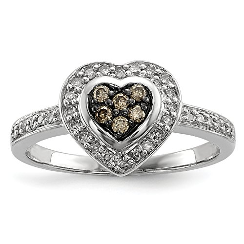 ICE CARATS 925 Sterling Silver Champagne Diamond Small Heart Band Ring Size 8.00 S/love Fine Jewelry Gift Set For Women Heart by ICE CARATS (Image #1)