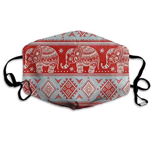 - Face Mask Vintage Indian Lotus Elephant Personalized Cycling Half Face Earloop Nose Mask for Men