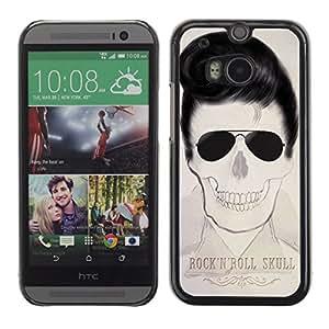 GOODTHINGS ( NO PARA HTC ONE MINI 2) Funda Imagen Diseño Carcasa Tapa Trasera Negro Cover Skin Case para HTC One M8 - Elvis cráneo rollo de la música rock fresco de la estrella