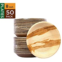"""Raj Disposable Palm Leaf Plates [50-Pack] 8"""" Round Plates Strong and Reusable Party Plates - Decorative Compostable Tableware for Lunch, Dinner, Birthday, Camping, Outdoor BBQ, Picnic Parties"""