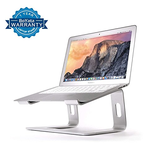 Laptop Stand, Boyata Elevator Computer Laptop Holder: Dismountable Ventilated Notebook Stand for Apple MacBook Pro/Air, HP, Dell, Lenovo, Samsung, Acer, Huawei MateBook, Toshiba (Silver) (Sliding Stand Brackets Lcd)