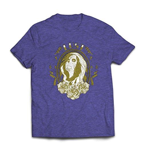 lepni.me Camisetas Hombre diseño de Estilo Mejicano Dia de los Muertos (X-Large Brezo Azul Multicolor)