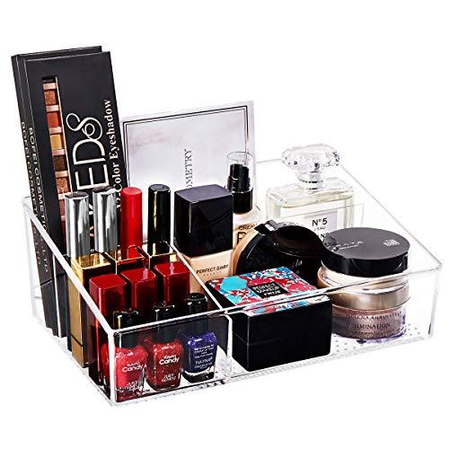 YOUDENOVA Acrylic Clear Makeup Organizer Vanity Tray Cosmetic Holder Bathroom Storage Organizer