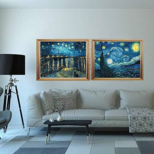 40X50CM//16X20inch 2 Packs 5D DIY Diamond Painting Set Full Drill Diamond Painting Starry Night Wall Stickers For Living Room Cross Stitch Craft Kit