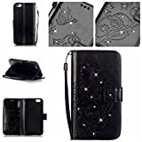 EastESH Leather Wallet Case for iPhone 6 6s Plus, Black Elegant Flower Tree Pu Leather Magnetic Book Style Wallet Flip Protective Case with Stand for iPhone 6 6s Plus