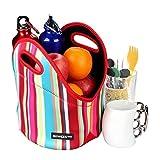 Giwox Lunch Bag Neopren wasserdicht Mittagessen Tote, große Kapazität mit kompakten Reißverschluss Essen-Träger (Regenbogen-Streifen)