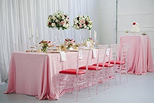TRLYC 60in x 120in Champagne Pink Rectangular Sequin Tablecl