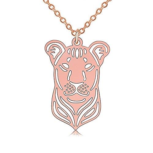 PANGRUI Exquisite Delicate Lioness Head 3D Laser Cut Pendant Necklace (rose (Lioness Head)