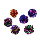 UEETEK 6pcs Mylar Crinkle Balls for Cats,Interactive Crinkle Cat Toy Balls for Cats Kittens Playing Exercise (Random Color)
