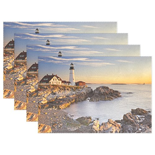 (WOZO Ocean Sea Landscape Lighthouse Placemat Table Mat 12