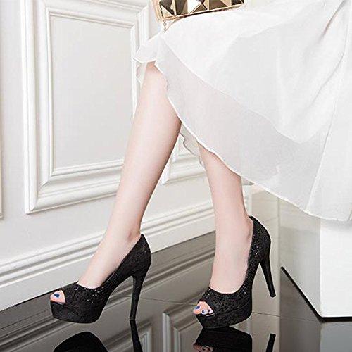 JIANXIN Frauen Frühjahr Und Sommer Stil Einzelne Schuhe Schuhe Schuhe Und Frauen Sexy Spitze Fisch-Mund Schuhe Wasserdicht Plattform Heels. (Farbe   SCHWARZ größe   EU 37 US 6 UK 4 JP 24cm) e30567