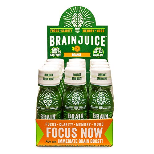 BrainJuice Brain Booster Shot, Orange| Liquid Drink Supplement for Improved Energy, Memory, Focus, Clarity & Mood, Gluten-Free, Non-GMO | 2.5 fl oz, 12 Count
