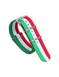 12mm Green/White/Red Colorful Breathable Girls' One-piece NATO style Nylon Watch Bands Straps