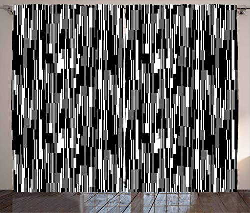 Ambesonne Black and White Curtains, Barcode Pattern Abstraction Vertical Stripes in Grayscale Colors, Living Room Bedroom Window Drapes 2 Panel Set, 108 W X 96 L Inches, Black Grey