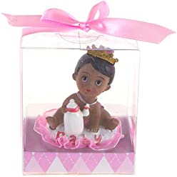 Baby Girl in Basket with Swan Poly Resin Mega Favors 12PCS Pink