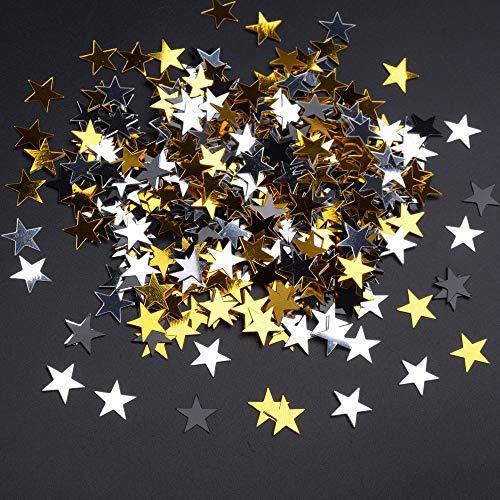 (Glitter Stars Confetti Table Confetti Black Gold and Silver Metallic Star Confetti - 30 Gram, 10mm )